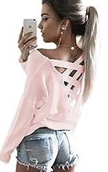 Ecowish V Ausschnitt Oberteile Damen Kreuz Langarmshirts Tops Hemd Shirt - Rosa - EU M