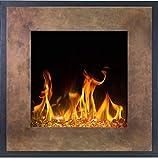 Chimenea eléctrica Fort Bronze de pared (750 W o 1500 W), simulación de fuego LED, profundidad de solo 13 cm