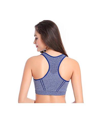 Jueshanzj Femme soutien-gorge de sport sans armature séchage rapide pour yoga courir Bleu
