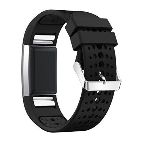 HappyTop Silikon Armband Ersatz für Fitbit Laden 2, Sport Handgelenk Handschlaufe Uhren Fitbit Bands, Herren, Schwarz