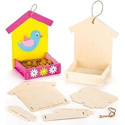 Kits de comederos de Madera para Pájaros Que los Niños Pueden Pintar, Decorar y Colgar (Pack de 3).