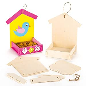 Baker Ross Wooden Bird Feeder Kits for Children to Paint Decorate and Hang (Pack of 3)