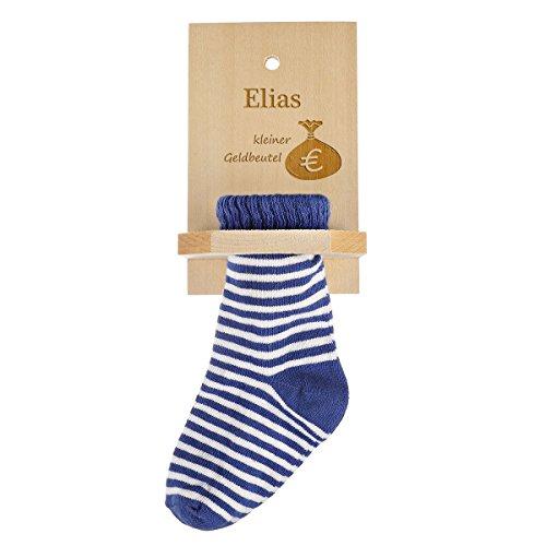 Sparstrumpf mit Gravur des Namens mit blauer Socke - Geschenk zum Geburtstag - Motiv kleiner Geldbeutel