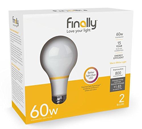 Endlich acandescent 60W A19Ersatz Lampe Warm Weiß (2700K)-2Pack - 2er Pack Glühbirne A19