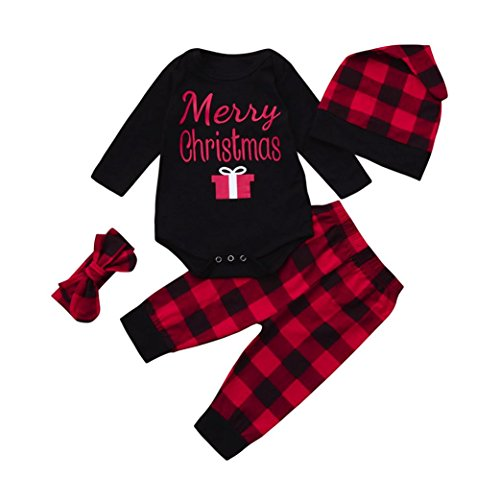 Overdose Neugeborene Säuglingsbaby Mädchen Jungen *My First Christmas*Pumpkin Romper Kürbis Spielanzug Top + Hosen + Hut Christmas Kleidung Satz (0-3 Monate, Z-Black-Christmas)