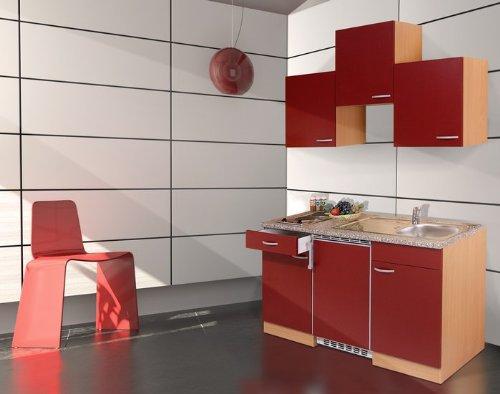Respekta Küchenzeile 150 cm Buche Rot, mit Geräten, Glaskeramikkochfeld