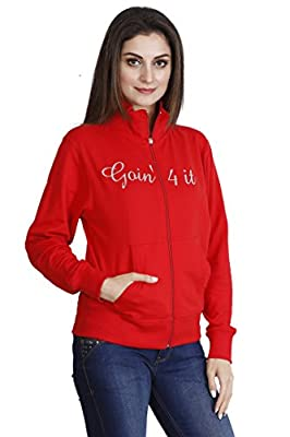 Ecott Acteve Red Fleece Jacket with Zip for Women