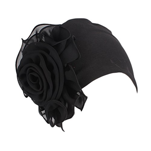 Modaworld Frauen-Damen-Retro-großer Blumen-Hut Turban-Rand-Hut-Kappen-Stapel-Kappe Elegante Stretch Muslim Kopftuch -