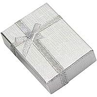 Pack de 12 Cajas para Joyas Anillo Collar con Inserto de Terciopelo por Kurtzy - Cajas de Presentación de 9 x 7 cm - Diseño de Lazo y Cinta - Inserto con Ranura para Anillos, Pendientes y Collares