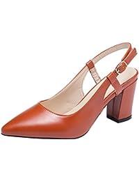 24aeba9a14d5be Coolulu Damen Slingback High Heels Blockabsatz Spitze Pumps mit Riemchen  Sommer Schuhe