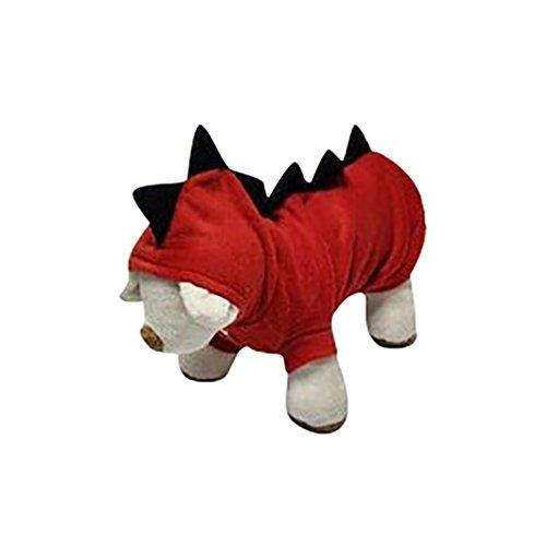 YiJee Cane Gatto Cucciolo Animale Domestico Maglione Cappuccio Abbigliamento Calda Vestiti Cappotto Modello di Dinosauro Rosso