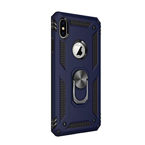 Lasvos Compatible with Hülle Samsung Galaxy iPhone X/XS/XS Max Cover TPU PC Ständer Schutzfolie 360 Grad Ring Stand Bumper Dünn Schwarz Handyhülle für iPhone X/XSXS Max (Blau, iPhone X)
