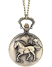 ShopyStore Carved Style Vintage Horse Hollow Carved Quartz Pocket Watch Clock Fob With Chain Pend