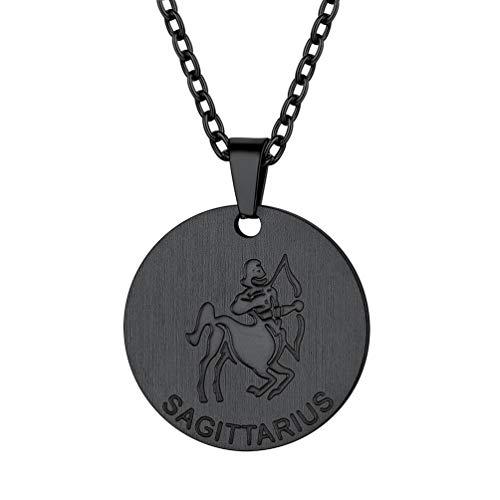 PROSTEEL Astrologische Schütze Halskette schwarz Edelstahl Frauen Mädchen Sternzeichen Münze Kette Runde Medaille Anhänger mit 55cm Rolokette Geschenk für Weihnachten Geburtstag