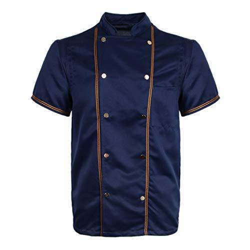 F Fityle Kurzarm Kochjacke Bäckerjacke Chef Jacke Restaurant Koch Arbeitskleidung Gastro Kochbekleidung für Männer Frauen - Schwarz, L - 4