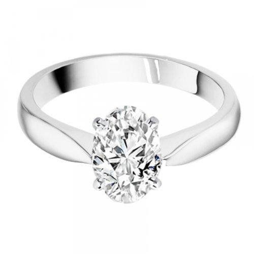 Diamond Manufacturers, Damen, Verlobungsring mit 0.25 Karat F/VS1 feinem und zertifiziertem Ovaldiamant in 18k Weißgold, Gr. 41 - 4