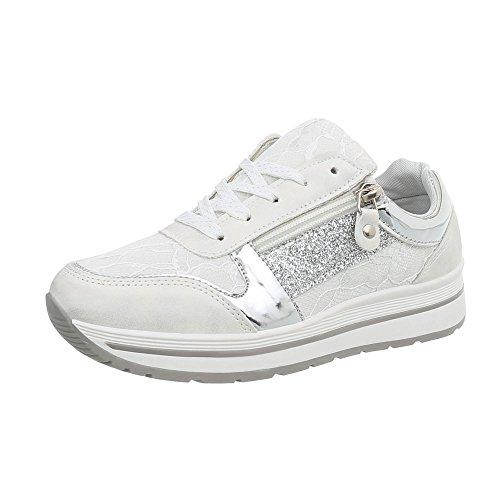 Ital-Design Damenschuhe Freizeitschuhe Sneakers Low Synthetik Weiß Silber Gr. 39 (Design Sneaker)