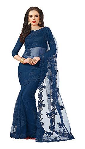 Darshita International Women\'s Net Saree (Navynetpari_NavyBlue)