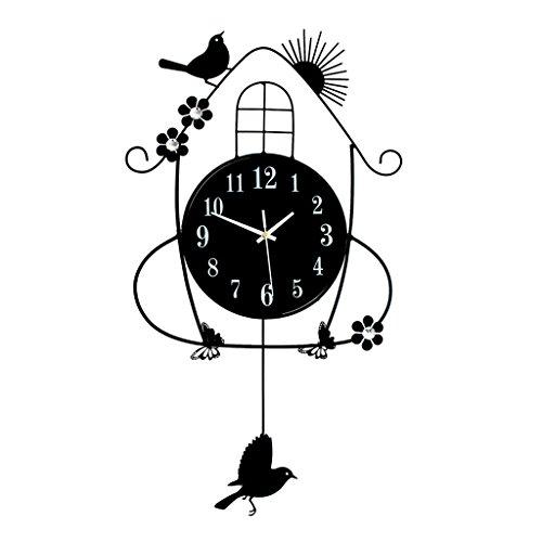 YGR GUAZHONG Naturblumen Und -vögel, Die Stille Glühende Wohnzimmerschlafzimmeruhr Hängende Tabellenquarzuhr Im Garten Arbeiten bizhong (Kristall Quarz Vogel)