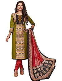 198f8c900c7 Ishin Cotton Green   Red Printed Women s Unstitched Salwar Suits dress  material with Dupatta