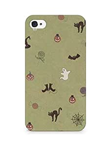 Amez designer printed 3d premium high quality back case cover for Apple iPhone 4s (Cute Halloween Pattern)