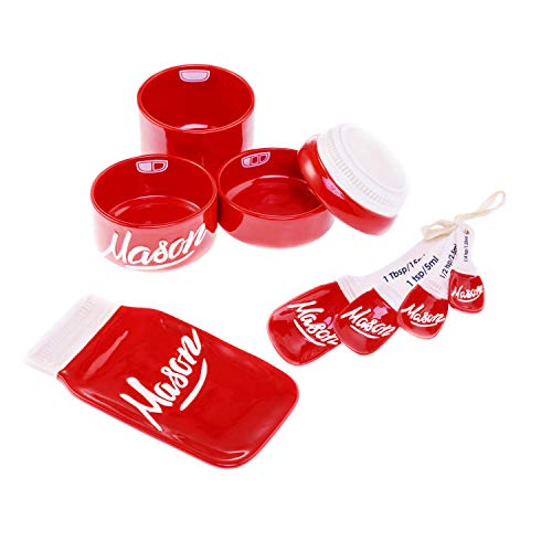 3-teilig Mason Jar Küche Keramik-Liebenswürdig, Mason Jar Becher & Küche Tools Set | inklusive ein Löffel Rest, Messbecher, Messlöffel | Spülmaschinenfest & mikrowellengeeignet von goodscious rot (Mason Tools)