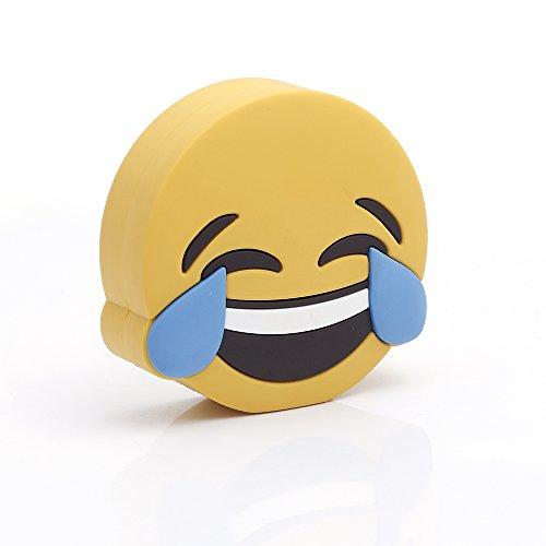 iprotect Emoji-Powerbank 2000mAh Externes Ladegerät im LOL-Emoji-Design für Smartphones und andere Geräte mit USB-Anschluss - inklusive Micro USB-Ladekabel