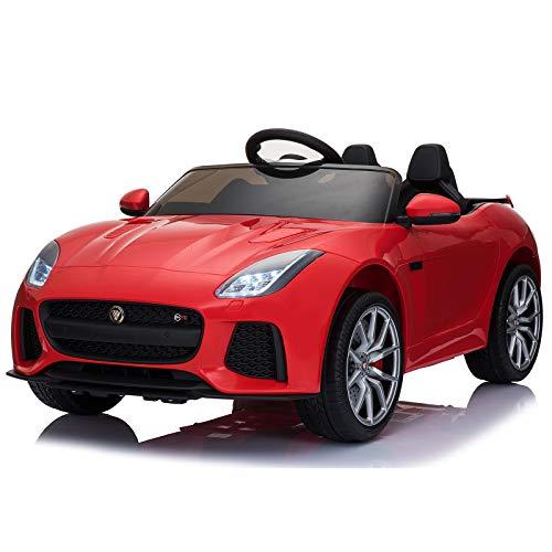 Homcom Voiture véhicule électrique Enfants 12 V - V. Max. 8 Km/h Effets sonores + Lumineux Rouge Jaguar F-Type SVR coupé