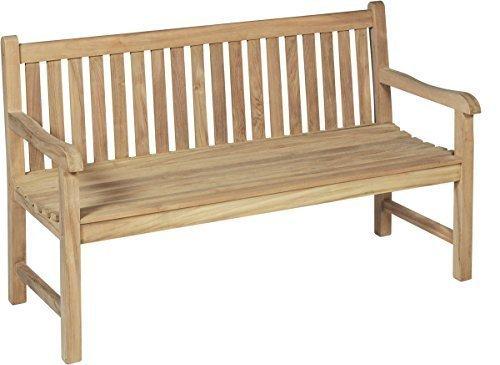 TWC Warenhandel Plus - Garten und mehr Hochwertige 3 Sitzer Gartenbank aus massivem unbehandeltem Teak Holz - sehr widerstandsfähige und langlebige Gartenbank Holz 3er - 150x63x92 cm
