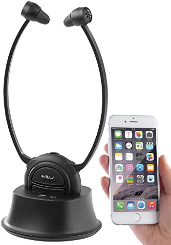 newgen medicals Kinnkopfhörer: TV-Kinnbügel-Kopfhörer & Hörverstärker mit Bluetooth, bis 110 dB (TV Funkkopfhörer)
