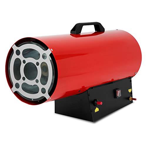 EBERTH 50 kW Direkt-Gasheizgebläse (inkl. Gasschlauch und Druckregler, integriertes Thermostat für Überhitzungsschutz, Piezozündung 230V, Gasventil mit Flammenkontrolle, Tragegriff)