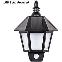 B-right Lámpara Solar Retro, Lámpara de Jardín Retro Impermeable, PIR Sensor de Luces Humana, Luz Solar Exterior para Jardín, Terraza, Garaje, Camino de Entrada, Escaleras,etc