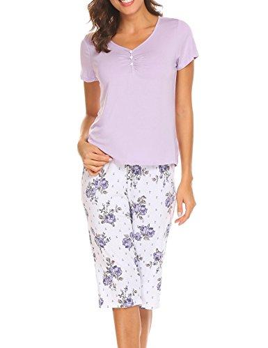 "Unibelle Damen Hausanzug Sommer Schlafanzug Pyjama Set mit Kurz Shirt und 3/4 Ã""rmel Hosen Lila XXL"