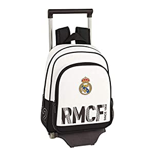 418 uUIgorL. SS300  - Real Madrid CF Mochila Pequeña Ruedas, Carro, Trolley, Niños, Blanco, 34 cm