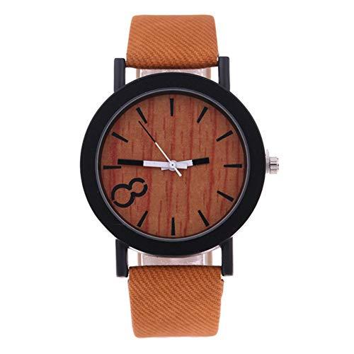 Armbanduhr, modisches Accessoire, lässige Holzmaserung, rundes Zifferblatt, Kunstlederband, Quarz-Armbanduhr, Paar-Geschenk -