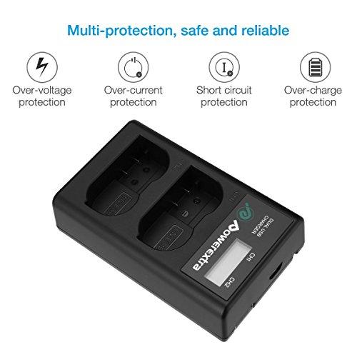 Powerextra Batería Nikon EN-EL15 de Repuesto y Cargador Pantalla LCD para Nikon MH-25 MH-25a y Nikon D7100 D750 D7000 D7200 D810 D610 D800 D850 D600 D500 D800E D810A 1v1 Cámaras