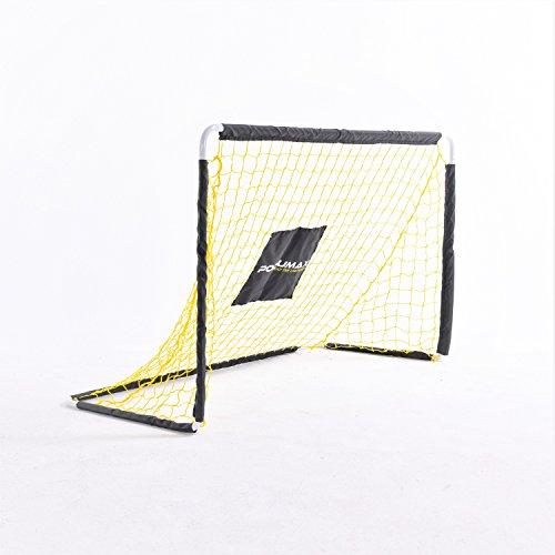 PodiuMax Fußballtor, DIY Metallrohr mit starkem Netz, Perfekt für den Indoor-Outdoor-Anwendung, Schwarz/Gelb