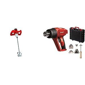 Einhell TC-MX 1400 E – Mezclador de mortero (1400 W, entrada M14, con agitador, 2 llaves de boca) + TH-HA 2000/1 – Decapador (potencia 1000- 2000 W, temperatura 1: 350° C, temperatura 2: 550° C, caudal aire 1: 300 l/min, 2: 500 l/min)