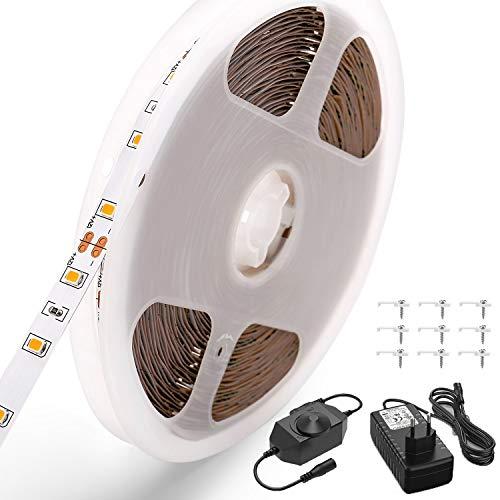 CPROSP Dimmbar LED Strip 10M,Warmweiß 3000K LED Stripes Dimmbar(0~100%) 600 LEDs Lichtband Selbstklebend 2835 SMD LED Bänder mit 12V Netzteil für Küche,unter Schrank,Party,Haus,Weihnachten Deko