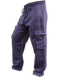 Shopoholic Fashion Unisex: Vielfarbige-streifen Marlene-hosen-sidepocket Hippy Hose