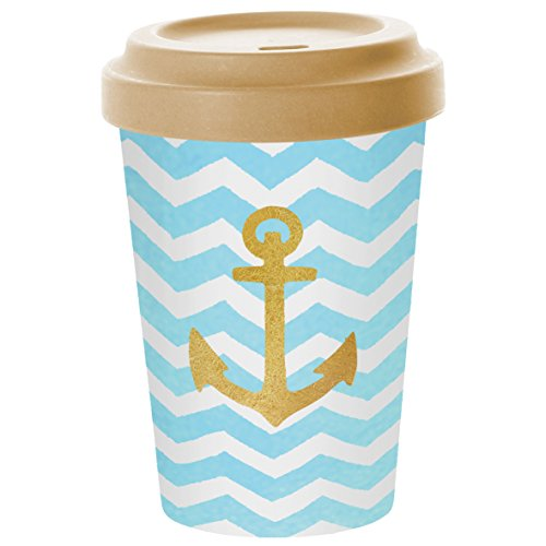 PPD Welcome Anchor Coffee-To-Go Becher, Kaffeebecher, Pappbecher, Trinkbecher, Bambus-Silikon, Blau / Gold, Ø 9 cm, 603343 - Gold Bambus-design