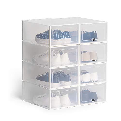 Hapilife Cajas de Zapatos Apilable Plástico Transparente