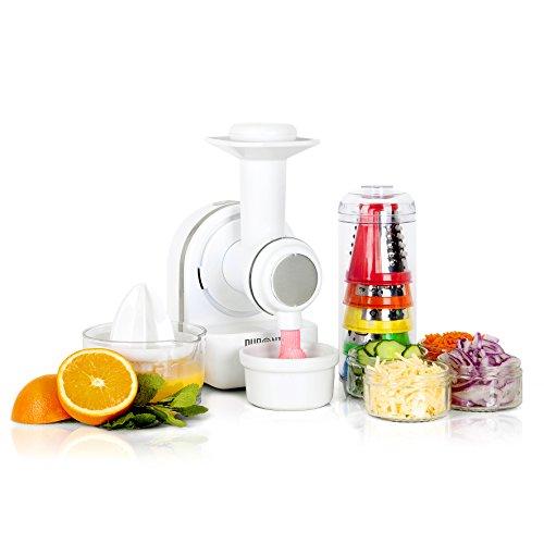 Duronic FP301 Moulin à légumes électrique avec râpe/hachoir/trancheuse - Presse-agrumes - Préparateur de crèmes glacées - 3 en 1