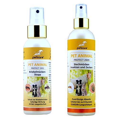 Peticare Pferde-Hunde-Set | Anflugstopp Kriebelmücken und Gnitzen (250 ml) + Multi-Repellent Stechmücken und Zecken (250 ml)