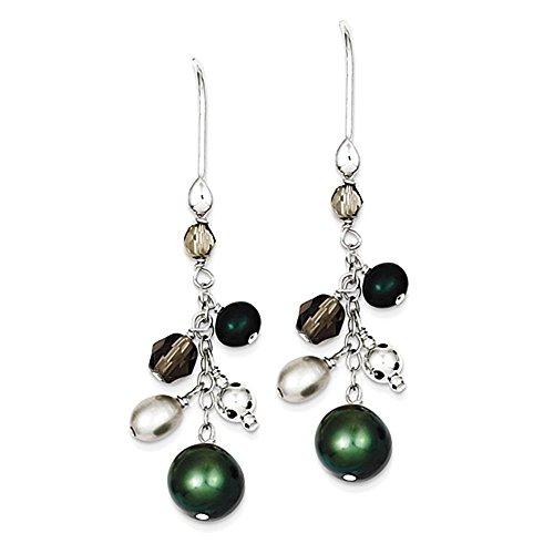 Sterling Silver Green & White Pearl simulato Cluster ciondola Ear