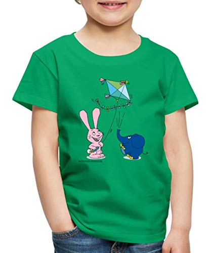Spreadshirt Der Kleine Elefant und Hase Drachensteigen Kinder Premium T-Shirt, 98/104 (2 Jahre), Kelly Green -