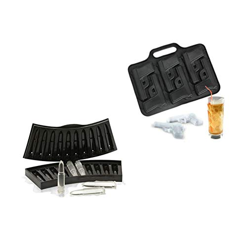 TEN-G 2 Pcs/Set Handgun and Bullet Ice Cube Trays Set- 1 x AK47 Bullet + 1 x Pistol Gun Ice Cube Chocolate Soap Tray Mold Party Maker for Whiskey Cocktails Ice Cubes,Chocolates,Jello Shots (Ice Cube Gun)