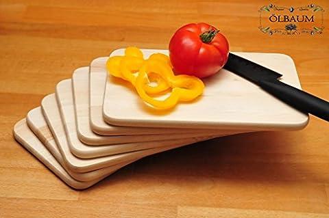 7x Premium Board Wood Natural Universal Kitchen Board Kit, Large with Rounded Corners (22cm x 14cm Bruschetta Serving with Handles/New Bavarian Bread Board, Bruschetta, Pita, Doner, Naan Roti/Ciabatta-Langos Chubz Serving Boards Boards/Boards Lunch, of 6Small