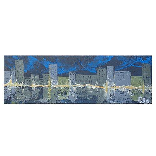 stadt-bei-nacht-60-x-20-cm-einteilig-oart-stil-original-handgemaltes-unikat-leinwand-bilder-hochhaus