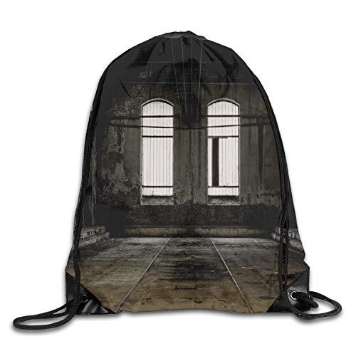 YOWAKi Printed Drawstring Backpacks Bags,Vintage Style Grunge Floor Walls and Windows Messy Aged Wrecked Workshop,Adjustable String Closure -